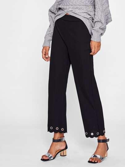 Pantalons festonné avec des œillets métallique