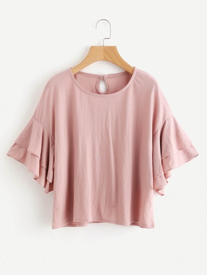 Drop Shoulder Layered Sleeve Keyhole Back Top