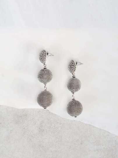 Tri-Layered Ball Earrings SILVER