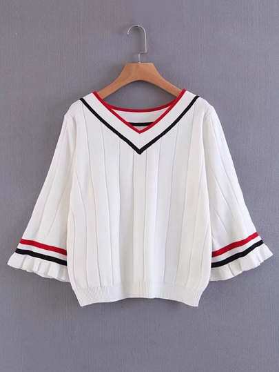 Bell Sleeve Ribbed Trim Sweater