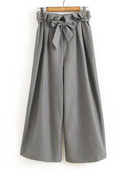 Bow Tie Waist Frill Trim Wide Leg Pants