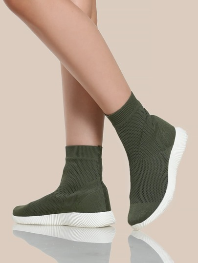Knit High Top Sneakers OLIVE