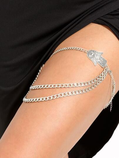 Silver Hamsa Thigh Chain
