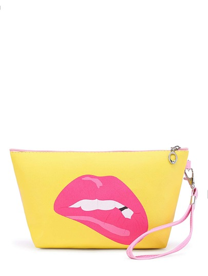 Lip & Slogan Print Makeup Bag With Wristlet