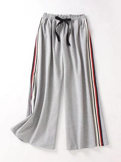 Drawstring Waist Striped Side Wide Leg Pants