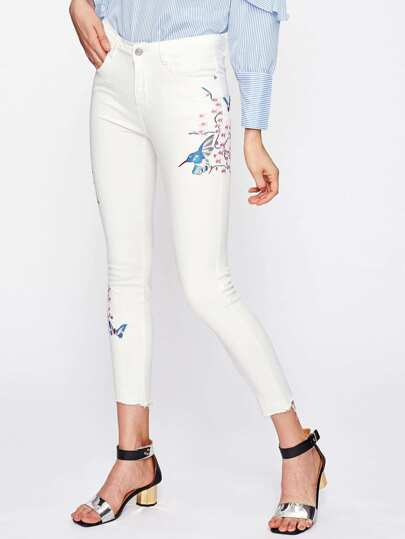 Flower Blossom Embroidered Raw Hem Jeans