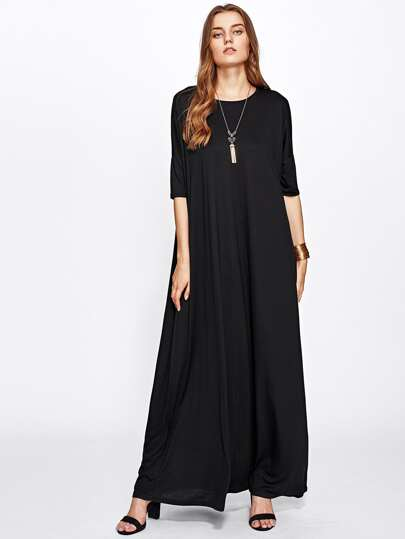Solid Full Length Tent Dress