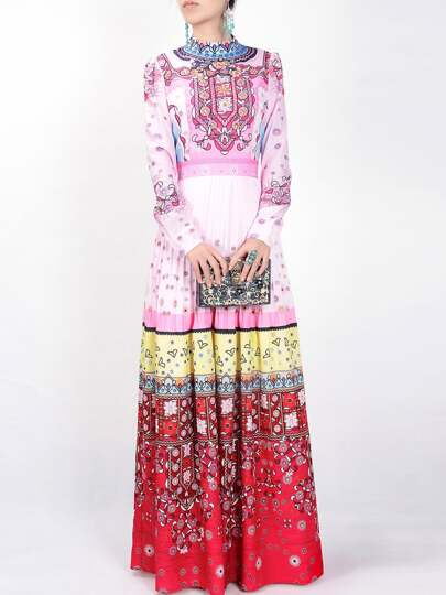 Color Block Tribal Print Maxi Dress