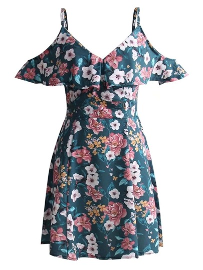 Calico Print Open Shoulder Flounce Dress