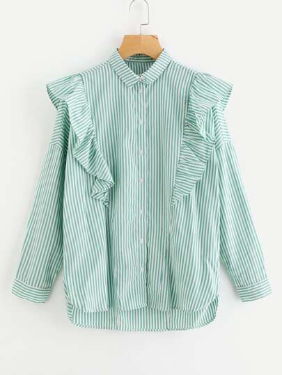 Frill Trim Stepped Hem Blouse