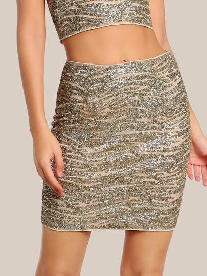 Glitter High Rise Mini Skirt GOLD