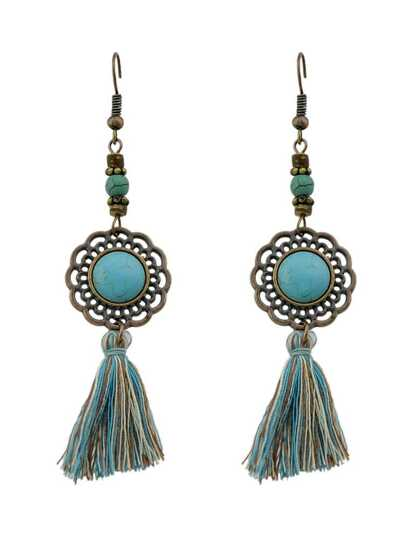 Ancient Gold Gem Tassel Fashionable Earrings