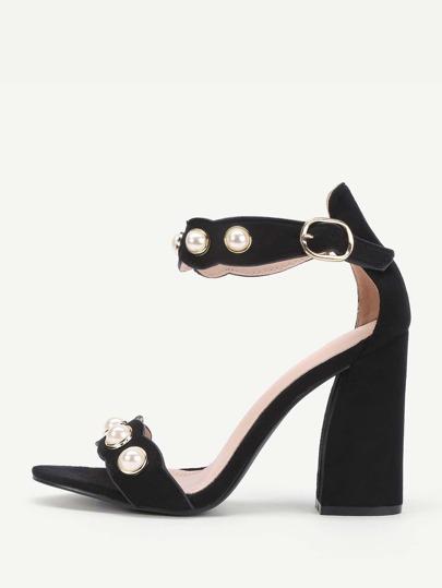 Sandales décorées de perle fausse avec bande de cheville