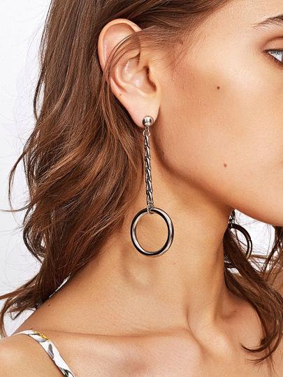 Open Ring Chain Design Drop Earrings