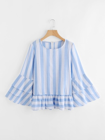 Contrast Striped Tiered Flute Sleeve Frill Hem Blouse