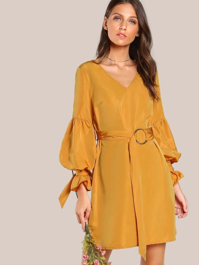 Tie Sleeve O-Ring Belt Detail Dress