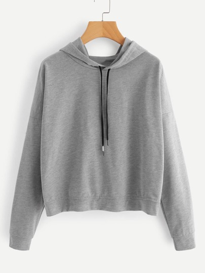 Drop Shoulder Overlap Back Marled Hoodie