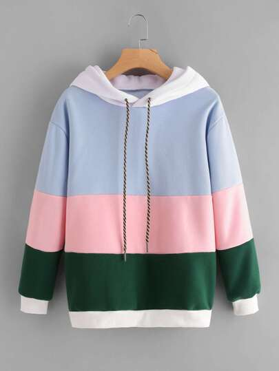 Cut And Sew Panel Hooded Sweatshirt