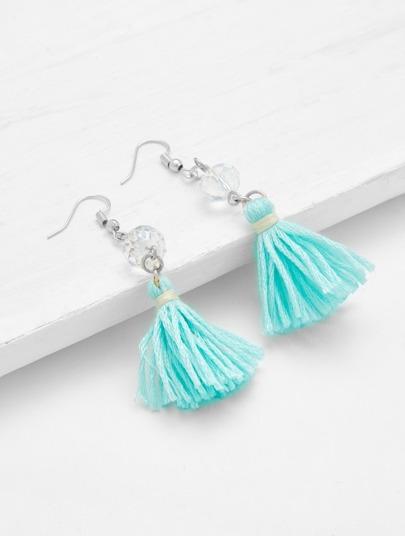 Tassel Drop Earrings With Crystal Detail