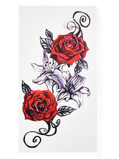 Rose Design Tattoo Sticker