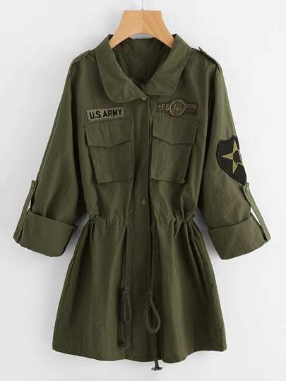 Embroidered Patches Detail Drawstring Waist Utility Jacket