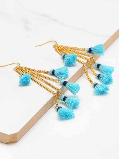 Mini Tassel Chain Design Drop Earrings