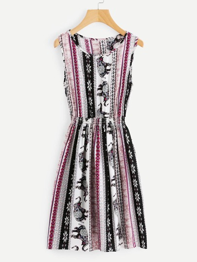 Aztec Print Elastic Waist Swing Dress