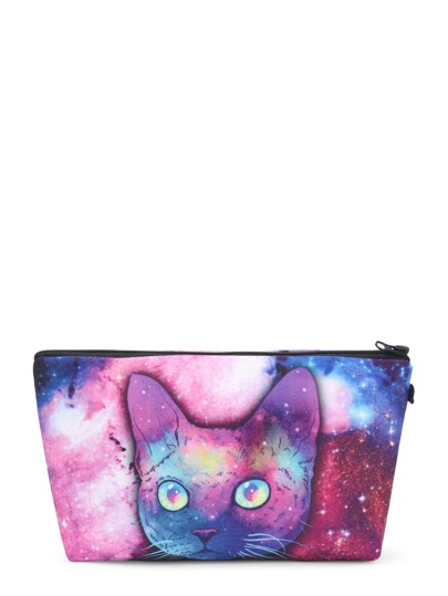 Cat & Galaxy Print Makeup Bag