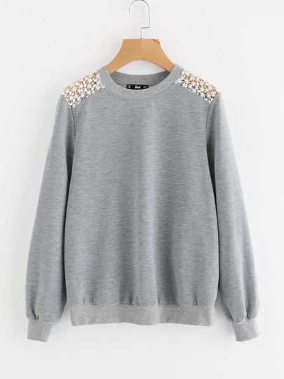 Contrast Dot Crochet Panel Heather Knit Pullover