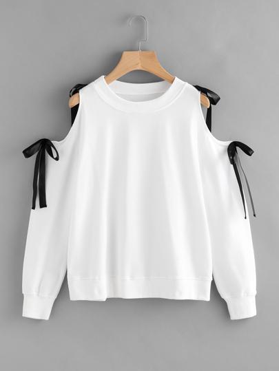 Sweat-shirt avec nœud lacet avec épaules nues