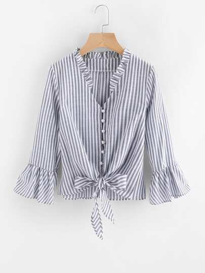 Contrast Striped Knotted Hem Frill Blouse