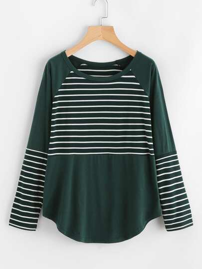 Raglan Sleeve Curved Hem Contrast Striped Tee