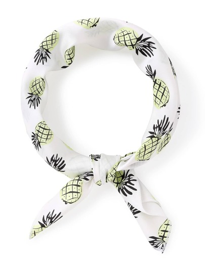 Pineapple Print Satin Bandana