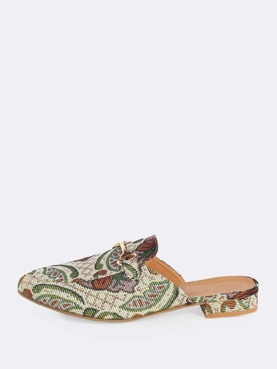 Embroidered Front Buckle Loafers OLIVE