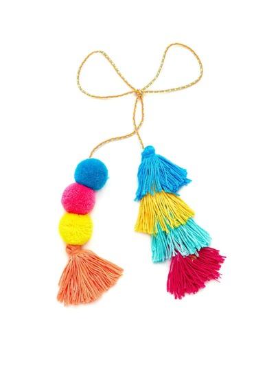 Color Block Tassel & Pom Pom Keychain