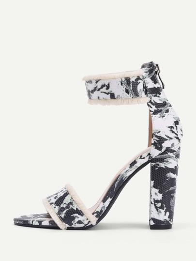 Raw Trim Two Part Block Heeled Sandals