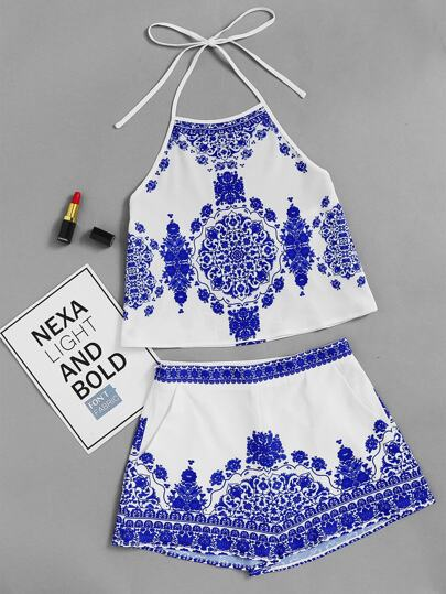 Porcelain Print Crop Halter Top With Shorts