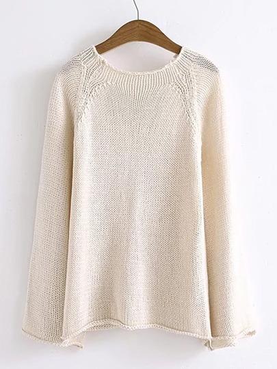 Sweater manche cloche bord relevé