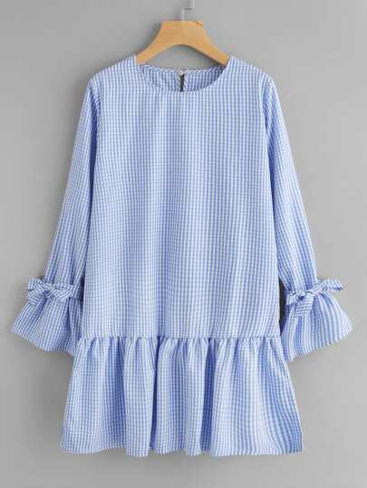 Flute Sleeve Tiered Hem Gingham Dress