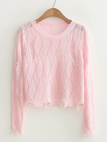 Diamond Pattern Distressed Detail Sweater