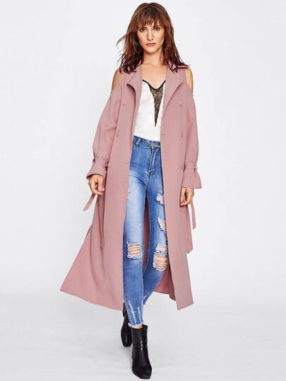 Open Shoulder Belted Waist And Cuff Trench Coat