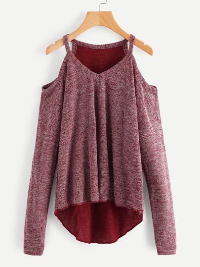 Suéter de lana de hombros descubiertos