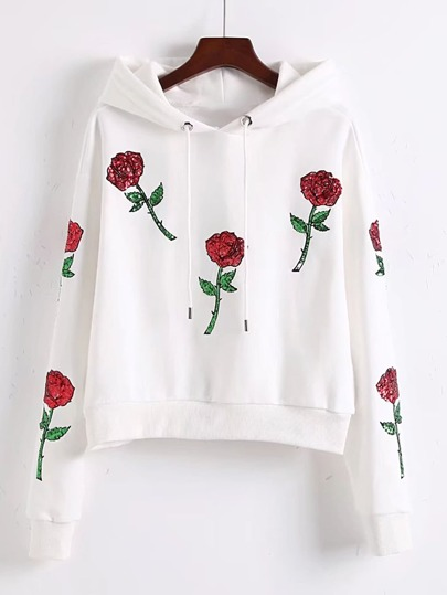 Flower Sequined Embroidered Drawstring Hooded Sweatshirt