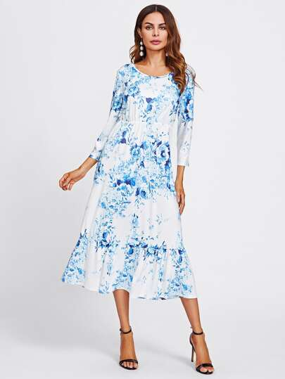 All Over Florals Frill Hem Dress