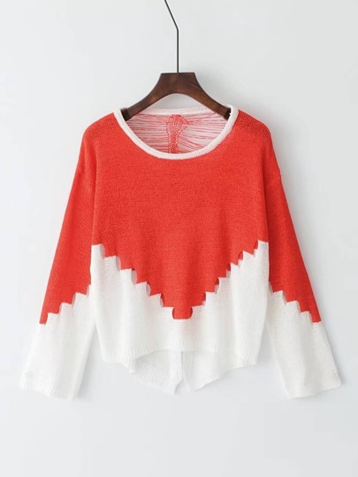 Color Block Hollow Out Asymmetrical Hem Knitwear