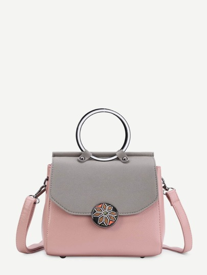 Two Tone PU Shoulder Bag With Ring Handle