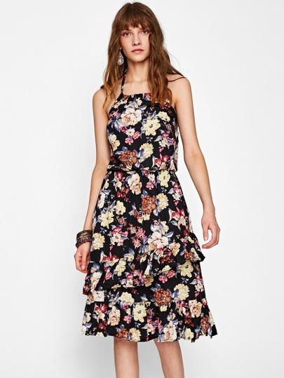 Vestido con estampado floral con bajo de volante y halter