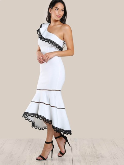 Ladder Lace Insert Frill One Shoulder Fishtail Dress