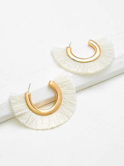 Fringe Detail Fan Shaped Stud Earrings