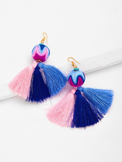 Round Top Color Block Tassel Earrings